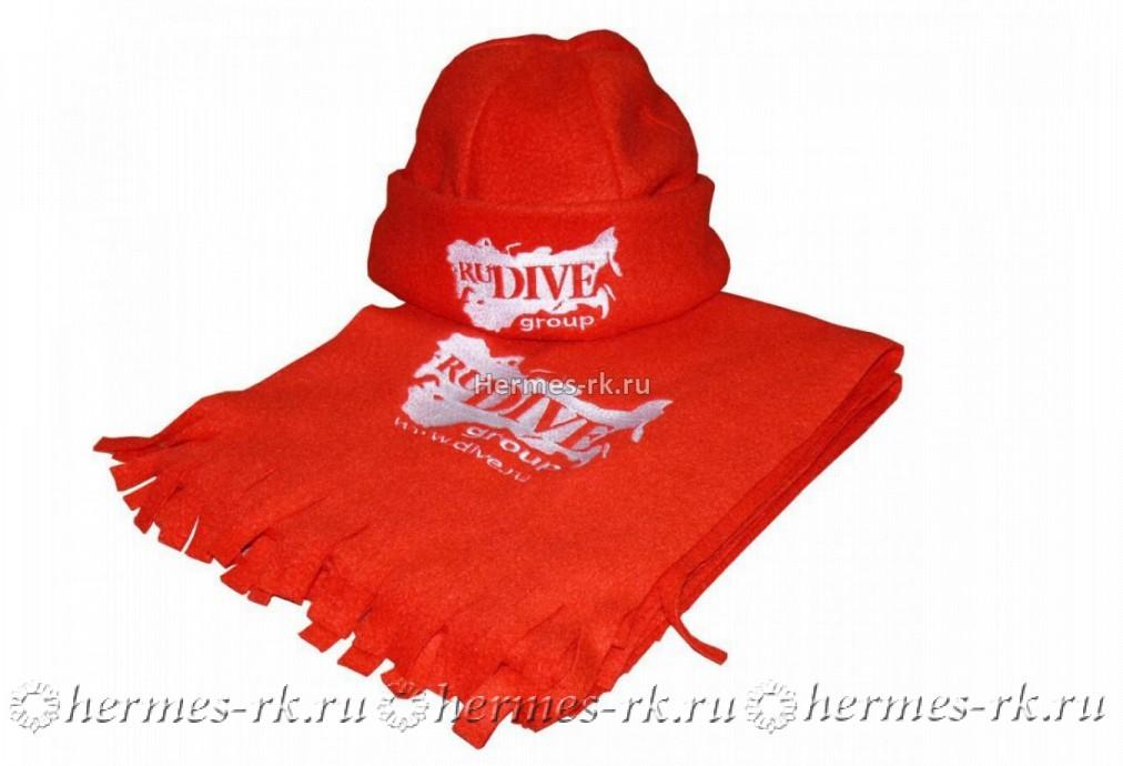 Вышивка логотипа на шапке и шарфе